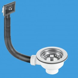 """Mcalpine 1.5"""" Basket Strainer Sink Waste With Reectangular Overflow BWSTOFRS"""