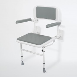 Nymas Wall Mounted Shower Seat Grey   130205/Gy (C/W Back/Arms/Legs/Padded)