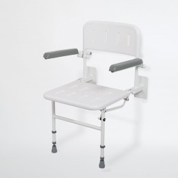 Nymas Wall Mounted Shower Seat White  130203/Wh C/W Back/Arms/Legs