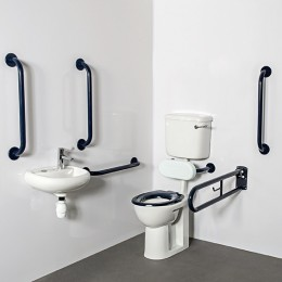 Nymas Low Level Doc M Toilet Pack Dark Blue C/W 1 Tap Hole/Steel/Exposed Fittings  Dm215K/Db