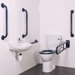Nymas Close Coupled Doc M Toilet Pack Dark Blue Exposed Fittigns Steel                 Dm200K/Db