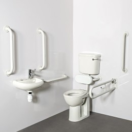 Nymas Low Level Doc M Toilet Pack Steel White Exposed Fixings 1 Tap Hole             Dm215K/Wh