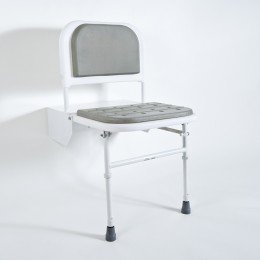 Nymas Doc M Shower Seat White Frame Grey C/W Legs & Padded                    Sb-085/Gy