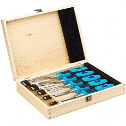 Pro Wood 5 Piece Chisel Set In Wooden Box OX-P370505 6 13 19 25 & 32MM