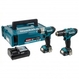 Makita 10.8V Impact Driver & Combi Drill Twin Clx201Aj With Case  2X Li-Ion Batts & Charger