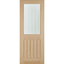 "26 Belize Internal Oak Unfinished Glazed Door OBELG26 78""X30"" FSC"