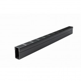Aco Threshold Drain Slimline Aluminium Black Grate 1000mm                               19005