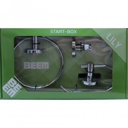 Beem Lily 3-Piece Round Bathroom Accessory Kit Towel Ring  Toilet Roll Holder  Single Robe Hook