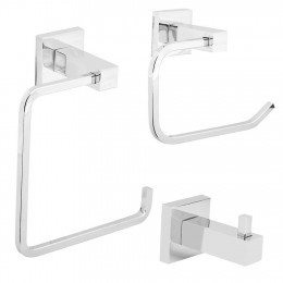 Beem Cube 3-Piece Square Bathroom Accessory Kit Towel Ring  Toilet Roll Holder  Single Robe Hook