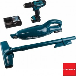 Makita 10.8V 2Pc Kit With Combi Drill & Vacuum Cleaner Inc 2 Batteries Clx214X1