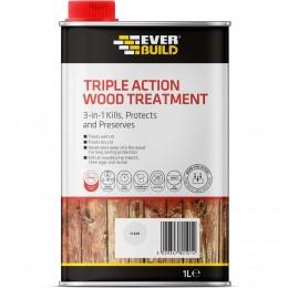 Everbuild Triple Action Wood Treatment Clear 1  Litre LJUN01
